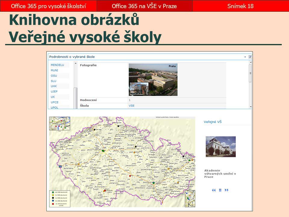 Knihovna obrázků Veřejné vysoké školy Office 365 na VŠE v PrazeSnímek 18Office 365 pro vysoké školství