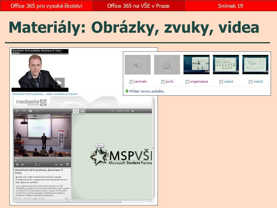 Materiály: Obrázky, zvuky, videa Office 365 na VŠE v PrazeSnímek 19Office 365 pro vysoké školství