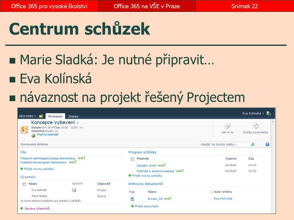 Centrum schůzek Marie Sladká: Je nutné připravit… Eva Kolínská návaznost na projekt řešený Projectem Office 365 na VŠE v PrazeSnímek 22Office 365 pro