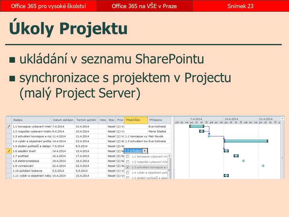 Úkoly Projektu ukládání v seznamu SharePointu synchronizace s projektem v Projectu (malý Project Server) Office 365 na VŠE v PrazeSnímek 23Office 365