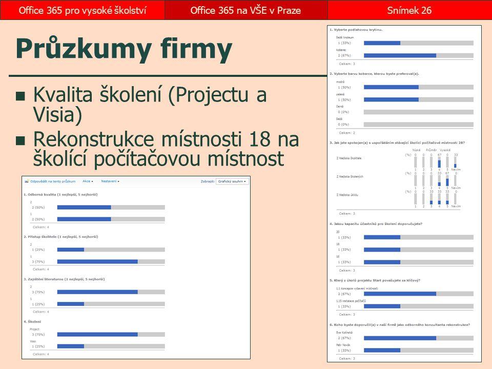 Průzkumy firmy Kvalita školení (Projectu a Visia) Rekonstrukce místnosti 18 na školící počítačovou místnost Office 365 na VŠE v PrazeSnímek 26Office 3