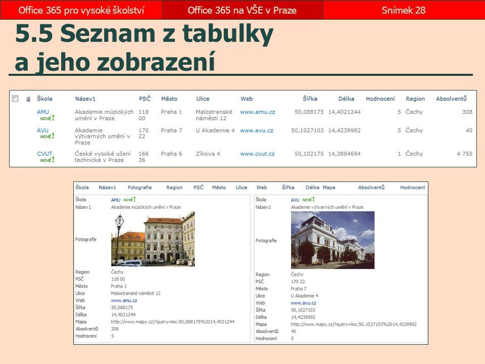 5.5 Seznam z tabulky a jeho zobrazení Office 365 na VŠE v PrazeSnímek 28Office 365 pro vysoké školství