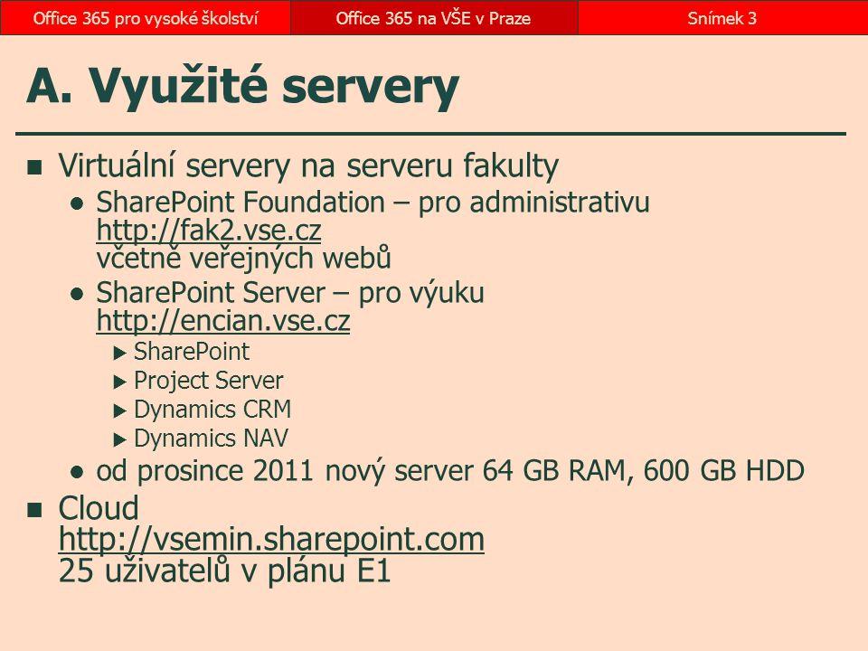 A. Využité servery Virtuální servery na serveru fakulty SharePoint Foundation – pro administrativu http://fak2.vse.cz včetně veřejných webů http://fak