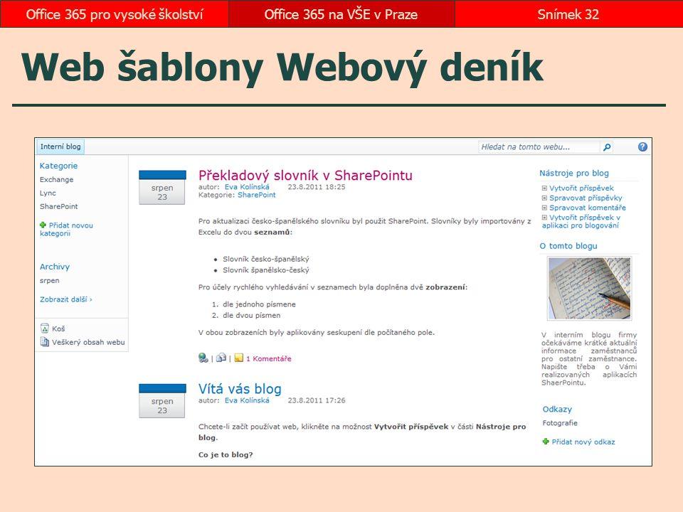 Web šablony Webový deník Office 365 na VŠE v PrazeSnímek 32Office 365 pro vysoké školství
