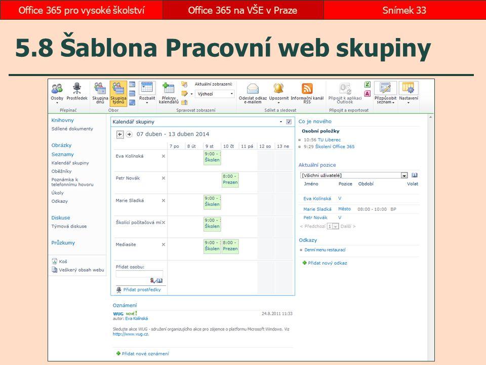 5.8 Šablona Pracovní web skupiny Office 365 na VŠE v PrazeSnímek 33Office 365 pro vysoké školství