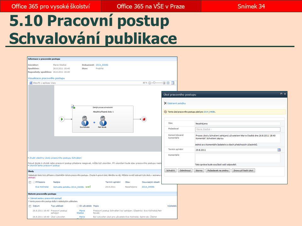 5.10 Pracovní postup Schvalování publikace Office 365 na VŠE v PrazeSnímek 34Office 365 pro vysoké školství