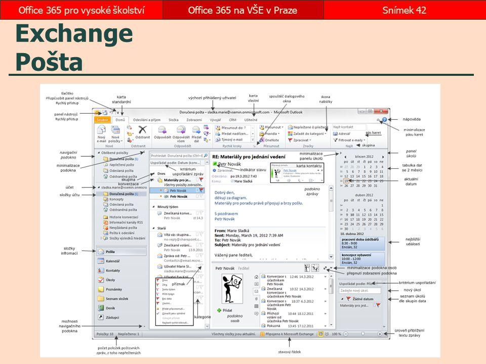 Exchange Pošta Office 365 na VŠE v PrazeSnímek 42Office 365 pro vysoké školství