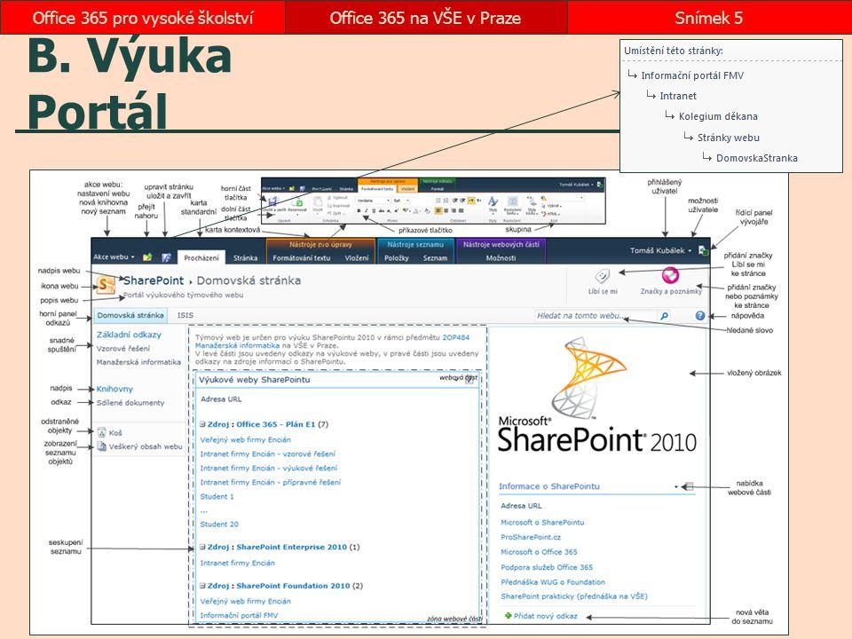 B. Výuka Portál Office 365 na VŠE v PrazeSnímek 5Office 365 pro vysoké školství