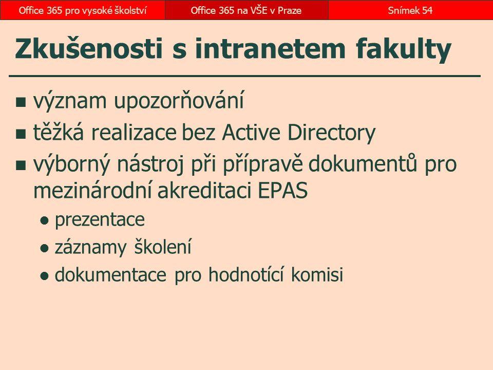 Zkušenosti s intranetem fakulty význam upozorňování těžká realizace bez Active Directory výborný nástroj při přípravě dokumentů pro mezinárodní akredi