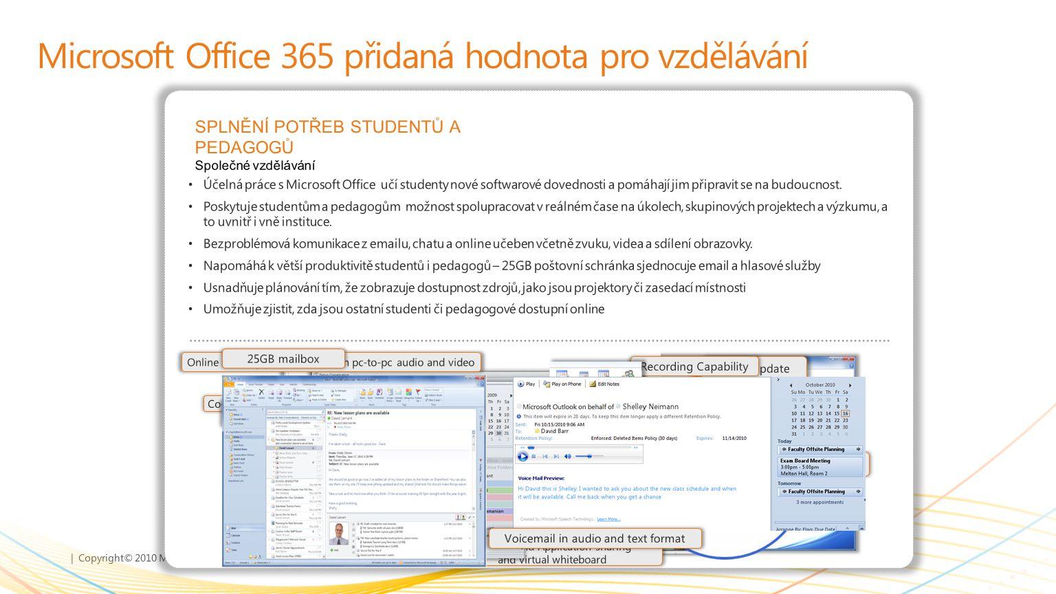 | Copyright© 2010 Microsoft Corporation Microsoft Office 365 přidaná hodnota pro vzdělávání SPLNĚNÍ POTŘEB STUDENTŮ A PEDAGOGŮ Společné vzdělávání Úče