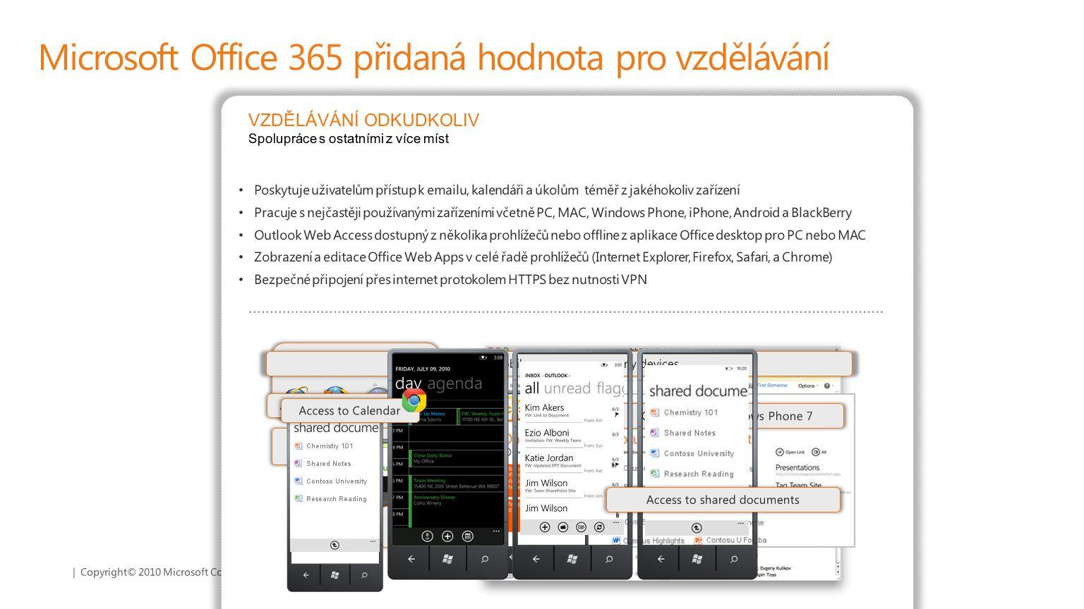 | Copyright© 2010 Microsoft Corporation Microsoft Office 365 přidaná hodnota pro vzdělávání Poskytuje uživatelům přístup k emailu, kalendáři a úkolům