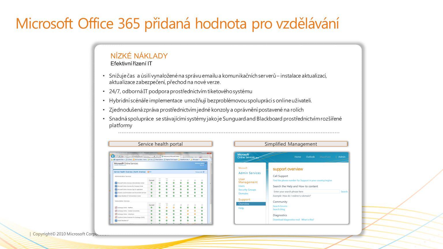 | Copyright© 2010 Microsoft Corporation Microsoft Office 365 přidaná hodnota pro vzdělávání Snižuje čas a úsilí vynaložené na správu emailu a komunika