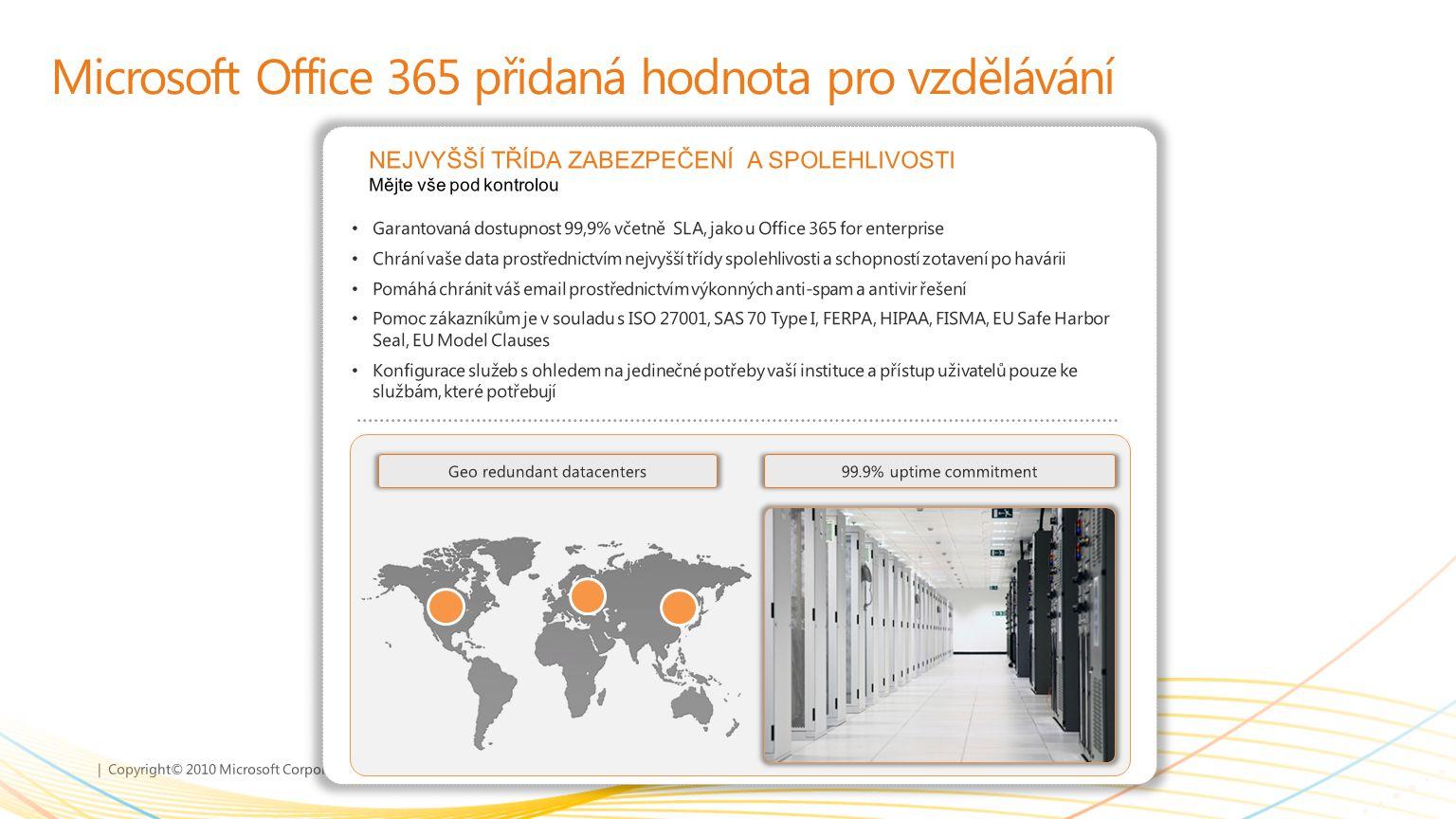 | Copyright© 2010 Microsoft Corporation Microsoft Office 365 přidaná hodnota pro vzdělávání Garantovaná dostupnost 99,9% včetně SLA, jako u Office 365