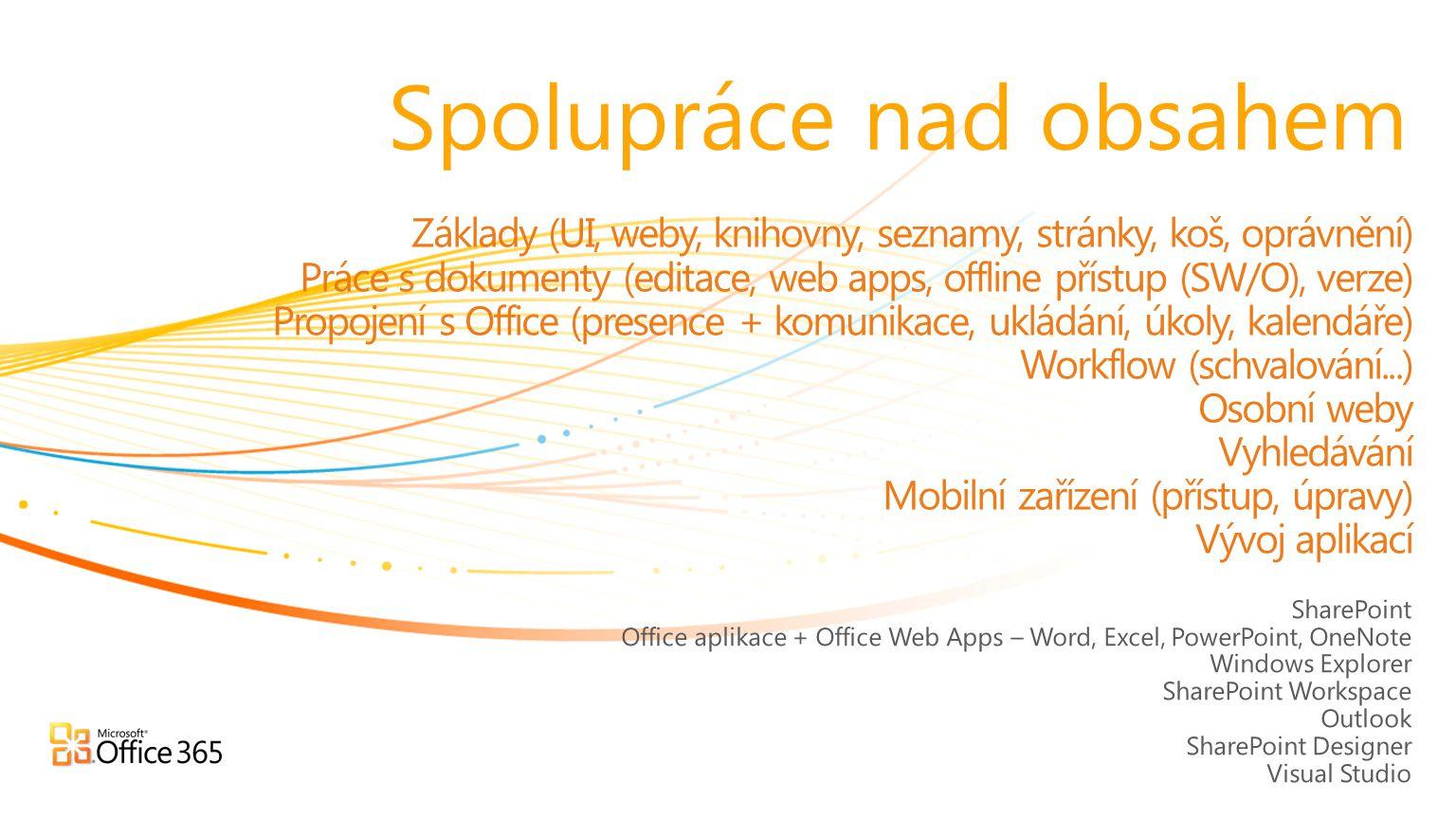 SharePoint Office aplikace + Office Web Apps – Word, Excel, PowerPoint, OneNote Windows Explorer SharePoint Workspace Outlook SharePoint Designer Visu