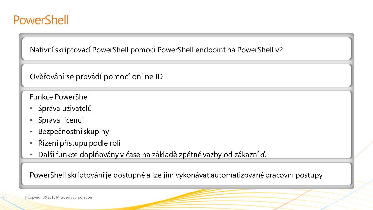 | Copyright© 2010 Microsoft Corporation PowerShell 31 Nativní skriptovací PowerShell pomocí PowerShell endpoint na PowerShell v2 Ověřování se provádí