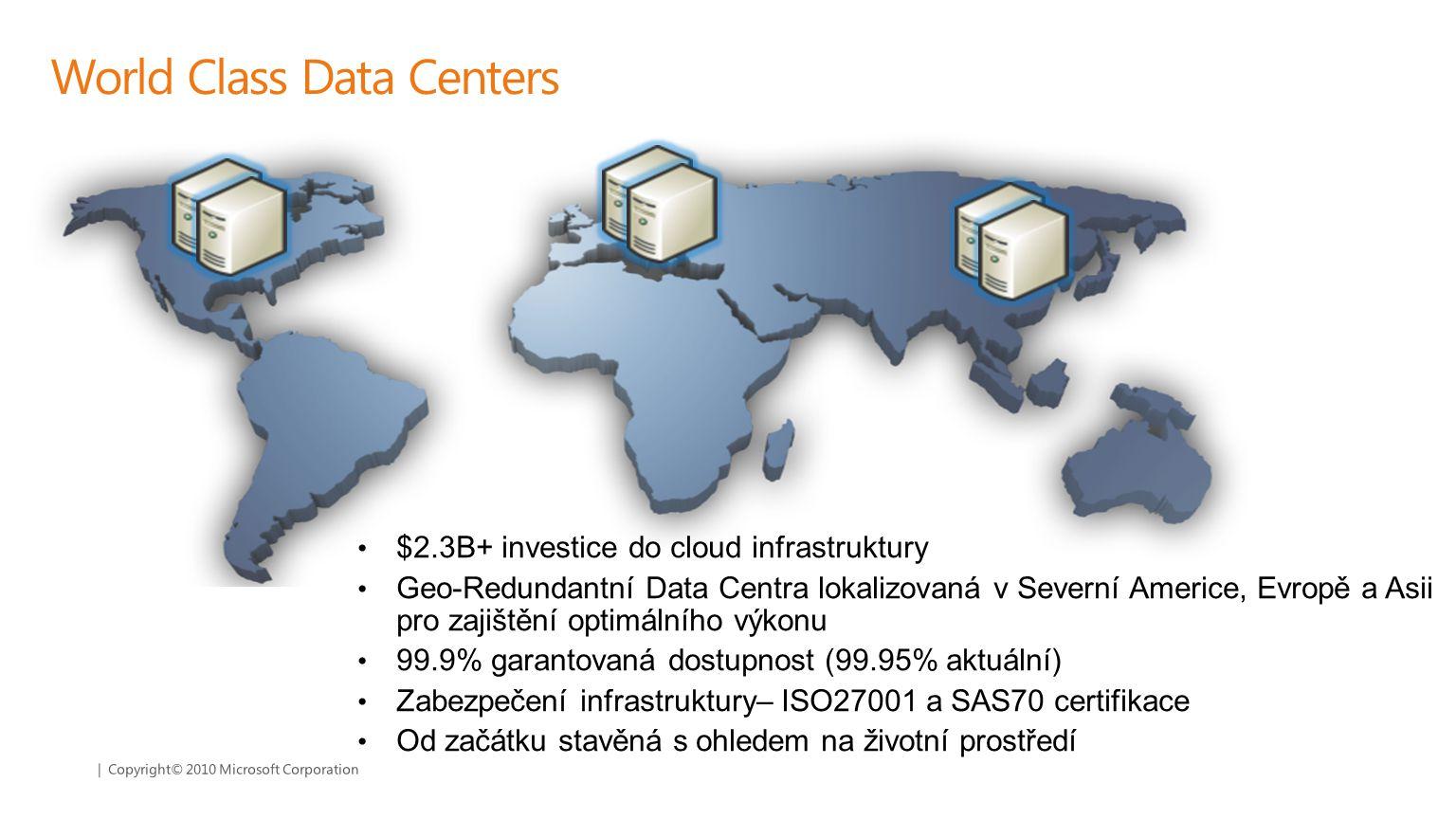 | Copyright© 2010 Microsoft Corporation World Class Data Centers