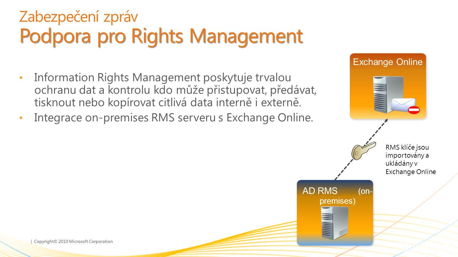 | Copyright© 2010 Microsoft Corporation Podpora pro Rights Management Zabezpečení zpráv Podpora pro Rights Management Information Rights Management po