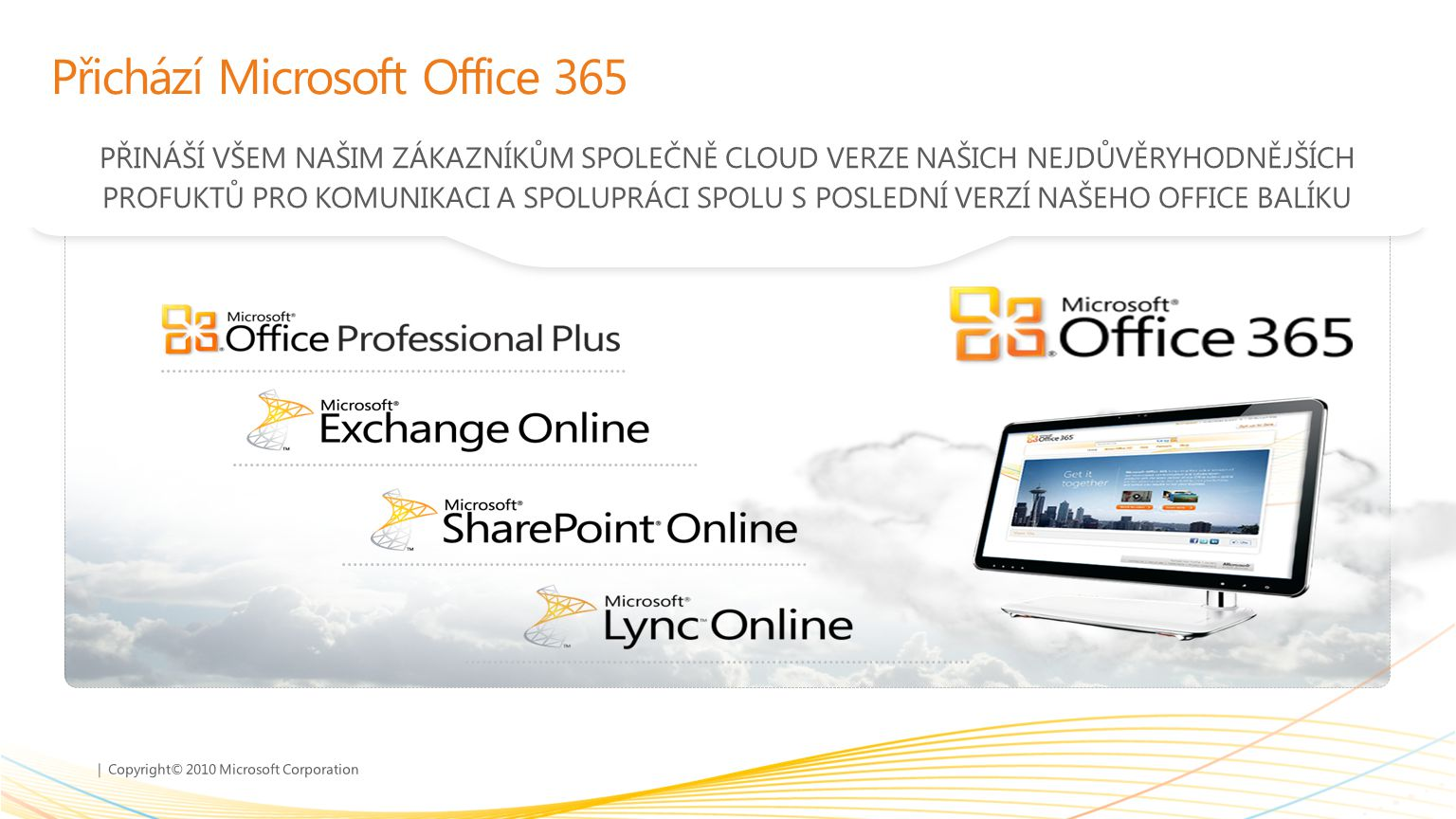 | Copyright© 2010 Microsoft Corporation Přichází Microsoft Office 365 PŘINÁŠÍ VŠEM NAŠIM ZÁKAZNÍKŮM SPOLEČNĚ CLOUD VERZE NAŠICH NEJDŮVĚRYHODNĚJŠÍCH PR