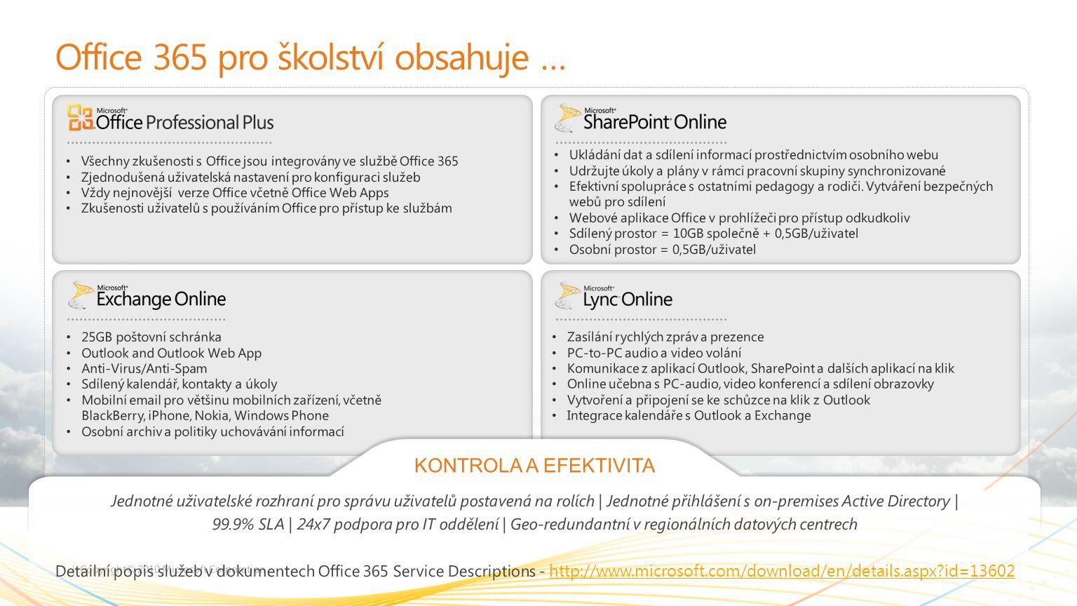 Outlook Outlook Web App Exchange Komunikace a řízení času E-maily a jejich správa (vlákna, příznaky, pravidla, vyhledávání, UC) Kalendáře (osobní, sdílené, místnosti, schůzky, delegování) Kontakty (osobní, GAL) Úkoly (osobní, přidělování) Mobilní zařízení (synchronizace)