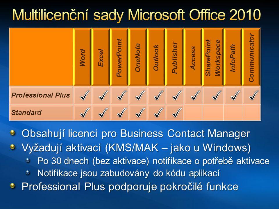 Obsahují licenci pro Business Contact Manager Vyžadují aktivaci (KMS/MAK – jako u Windows) Po 30 dnech (bez aktivace) notifikace o potřebě aktivace Notifikace jsou zabudovány do kódu aplikací Professional Plus podporuje pokročilé funkce