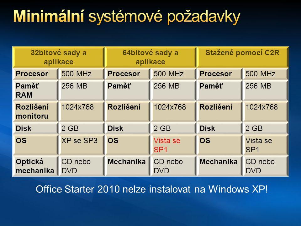 32bitové sady a aplikace 64bitové sady a aplikace Stažené pomocí C2R Procesor500 MHzProcesor500 MHzProcesor500 MHz Paměť RAM 256 MBPaměť256 MBPaměť256 MB Rozlišení monitoru 1024x768Rozlišení1024x768Rozlišení1024x768 Disk2 GBDisk2 GBDisk2 GB OSXP se SP3OSVista se SP1 OSVista se SP1 Optická mechanika CD nebo DVD MechanikaCD nebo DVD MechanikaCD nebo DVD Office Starter 2010 nelze instalovat na Windows XP!