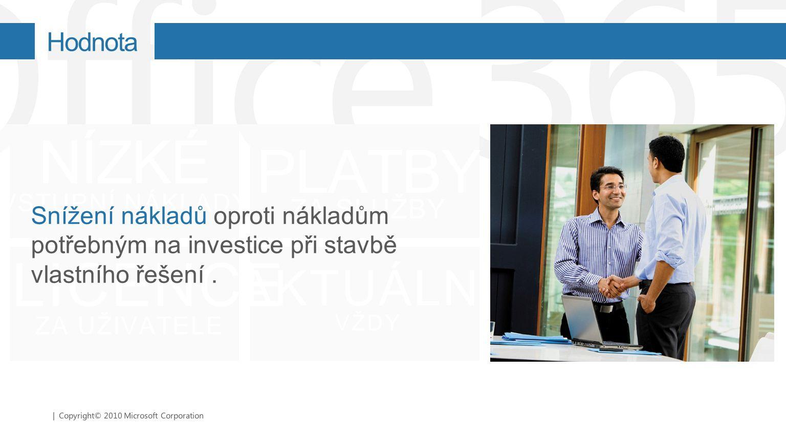 | Copyright© 2010 Microsoft Corporation LICENCE ZA UŽIVATELE PLATBY ZA SLUŽBY NÍZKÉ VSTUPNÍ NÁKLADY AKTUÁLN Í VŽDY Snížení nákladů oproti nákladům pot