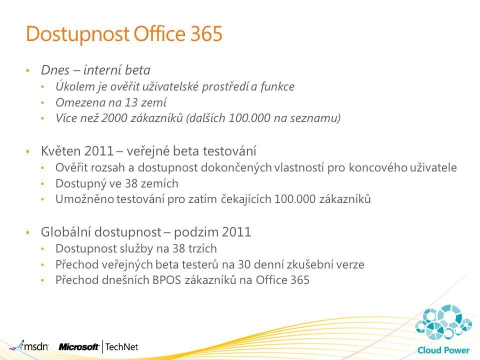 Dostupnost Office 365 Dnes – interní beta Úkolem je ověřit uživatelské prostředí a funkce Omezena na 13 zemí Více než 2000 zákazníků (dalších 100.000