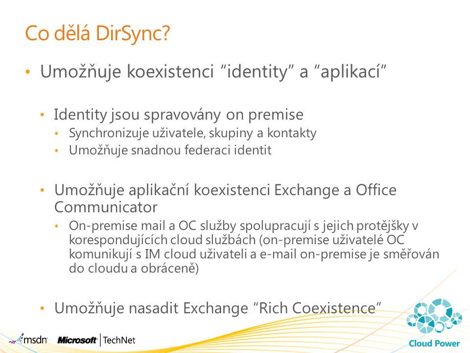 """Co dělá DirSync? Umožňuje koexistenci """"identity"""" a """"aplikací"""" Identity jsou spravovány on premise Synchronizuje uživatele, skupiny a kontakty Umožňuje"""