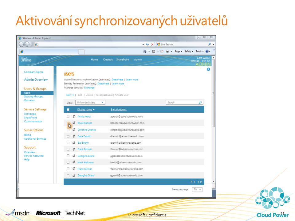 Aktivování synchronizovaných uživatelů Microsoft Confidential 31