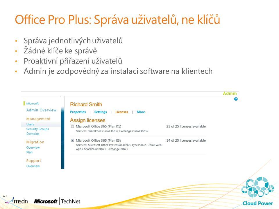 Office Pro Plus: Správa uživatelů, ne klíčů Správa jednotlivých uživatelů Žádné klíče ke správě Proaktivní přiřazení uživatelů Admin je zodpovědný za