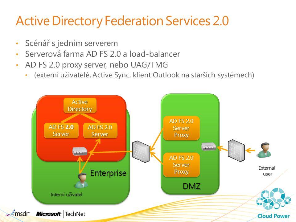 Active Directory Federation Services 2.0 Scénář s jedním serverem Serverová farma AD FS 2.0 a load-balancer AD FS 2.0 proxy server, nebo UAG/TMG (exte