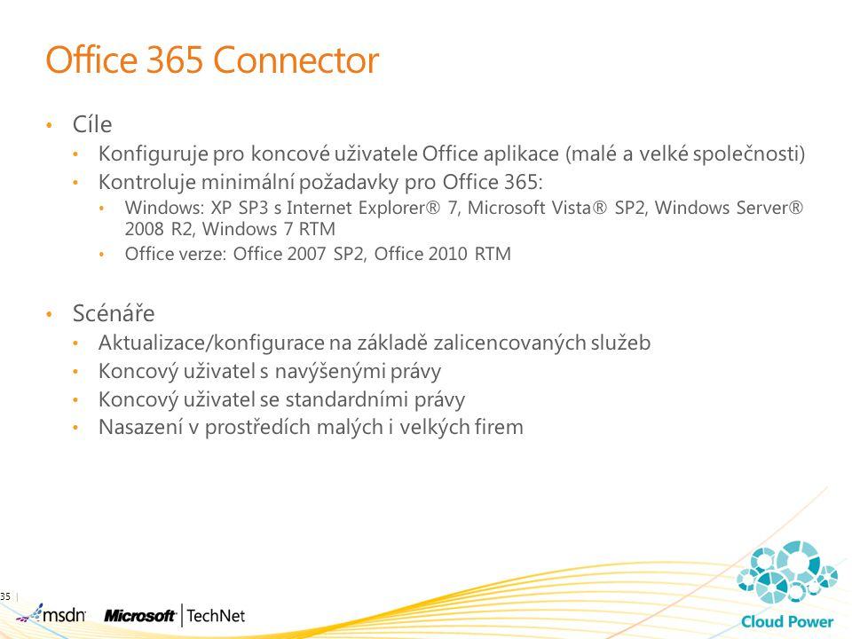 Office 365 Connector Cíle Konfiguruje pro koncové uživatele Office aplikace (malé a velké společnosti) Kontroluje minimální požadavky pro Office 365: