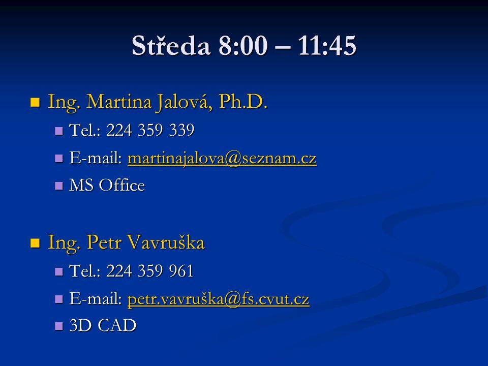 Středa 8:00 – 11:45 Ing. Martina Jalová, Ph.D. Ing. Martina Jalová, Ph.D. Tel.: 224 359 339 Tel.: 224 359 339 E-mail: martinajalova@seznam.cz E-mail: