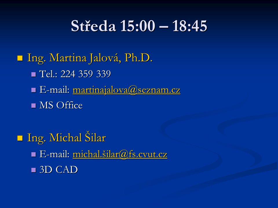 Středa 15:00 – 18:45 Ing. Martina Jalová, Ph.D. Ing. Martina Jalová, Ph.D. Tel.: 224 359 339 Tel.: 224 359 339 E-mail: martinajalova@seznam.cz E-mail: