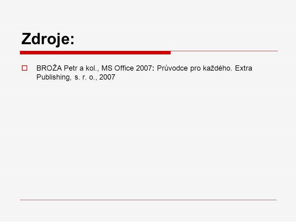 Zdroje:  BROŽA Petr a kol., MS Office 2007: Průvodce pro každého. Extra Publishing, s. r. o., 2007