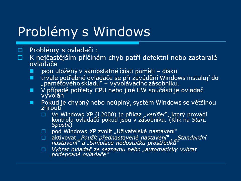 """ Problémy s ovladači :  K nejčastějším příčinám chyb patří defektní nebo zastaralé ovladače jsou uloženy v samostatné části paměti – disku trvale potřebné ovladače se při zavádění Windows instalují do """"paměťového skladu – vyvolávacího zásobníku."""