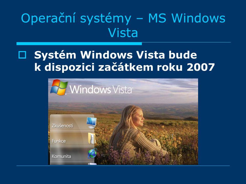 Operační systémy – MS Windows Vista  Systém Windows Vista bude k dispozici začátkem roku 2007