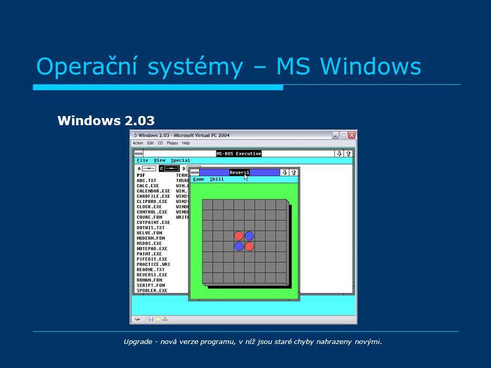 Operační systémy – MS Windows Windows 2.03 Upgrade - nová verze programu, v níž jsou staré chyby nahrazeny novými.