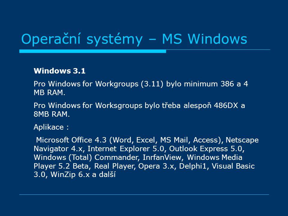 Operační systémy – MS Windows Windows 3.1 Pro Windows for Workgroups (3.11) bylo minimum 386 a 4 MB RAM. Pro Windows for Worksgroups bylo třeba alespo