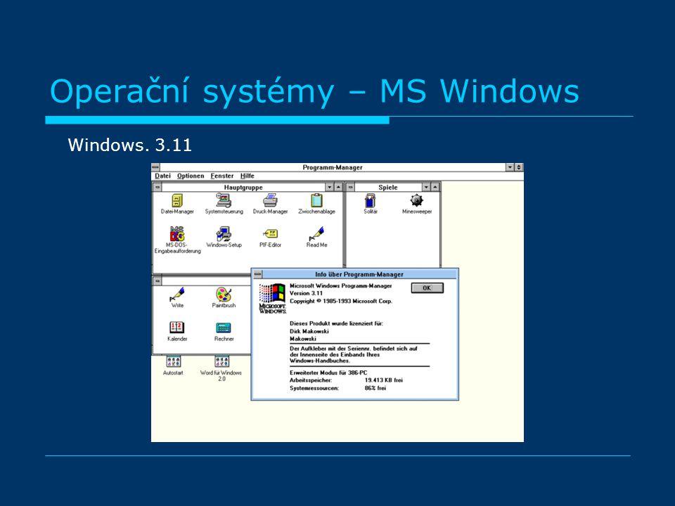 Operační systémy – MS Windows Windows. 3.11