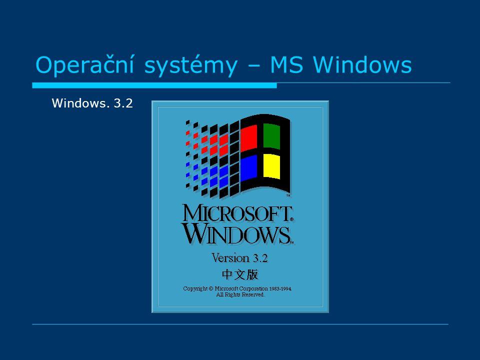 Operační systémy – MS Windows Windows. 3.2