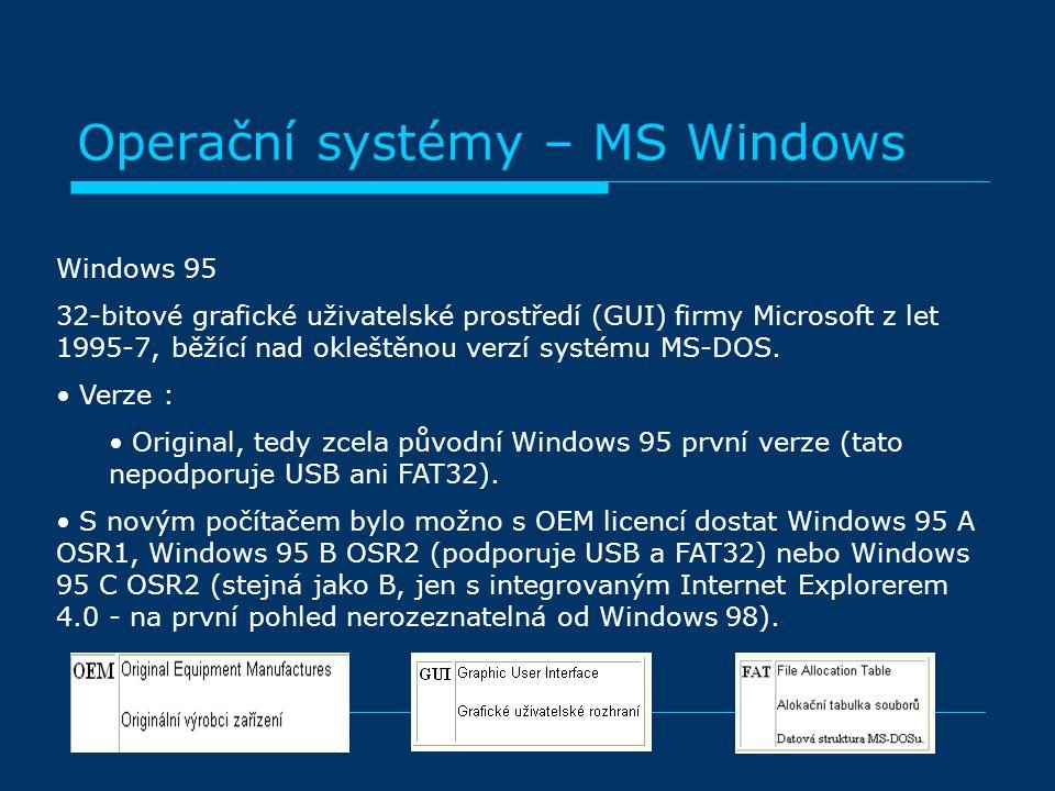 Windows 95 32-bitové grafické uživatelské prostředí (GUI) firmy Microsoft z let 1995-7, běžící nad okleštěnou verzí systému MS-DOS. Verze : Original,