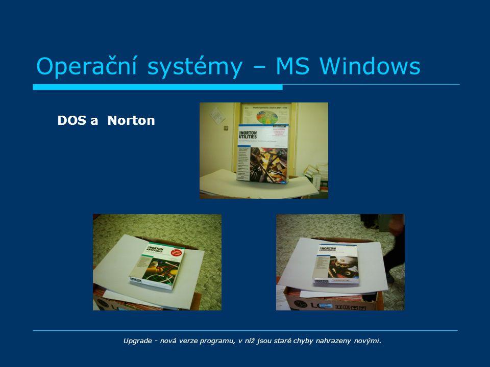 Operační systémy – MS Windows DOS a Norton Upgrade - nová verze programu, v níž jsou staré chyby nahrazeny novými.
