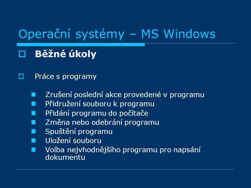 Operační systémy – MS Windows BBěžné úkoly PPráce s programy Zrušení poslední akce provedené v programu Přidružení souboru k programu Přidání programu do počítače Změna nebo odebrání programu Spuštění programu Uložení souboru Volba nejvhodnějšího programu pro napsání dokumentu