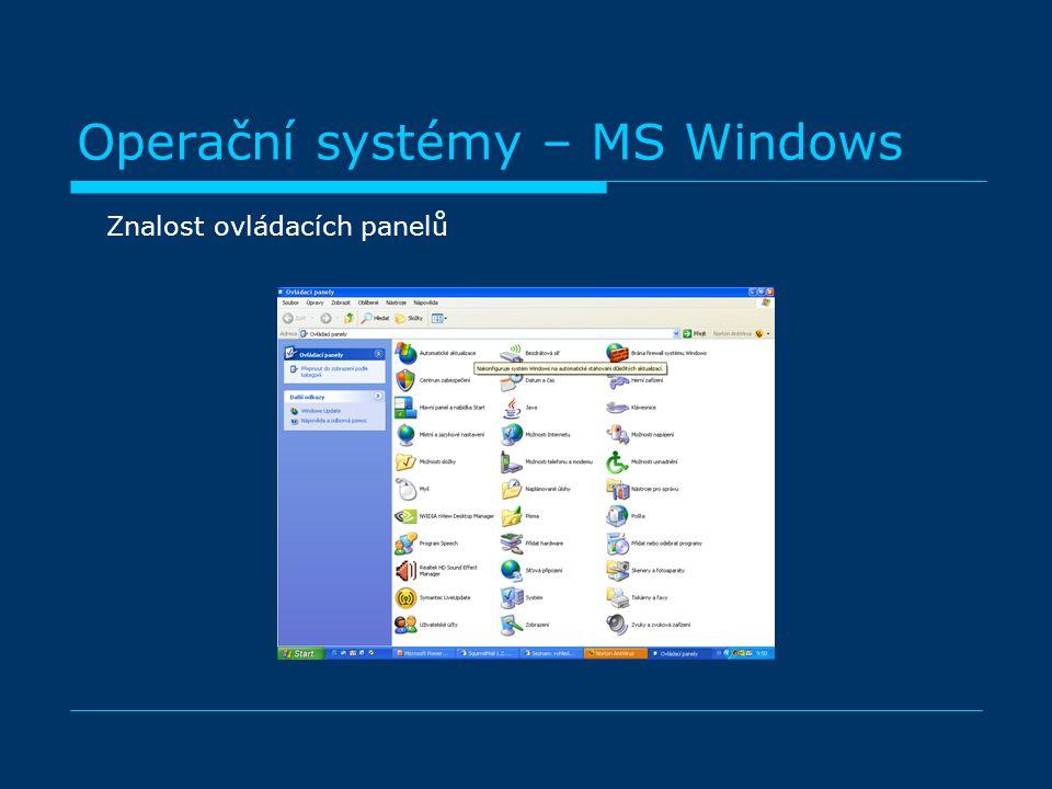 Operační systémy – MS Windows Znalost ovládacích panelů