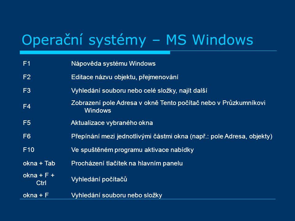 F1 Nápověda systému Windows F2 Editace názvu objektu, přejmenování F3 Vyhledání souboru nebo celé složky, najít další F4 Zobrazení pole Adresa v okně Tento počítač nebo v Průzkumníkovi Windows F5 Aktualizace vybraného okna F6 Přepínání mezi jednotlivými částmi okna (např.: pole Adresa, objekty) F10 Ve spuštěném programu aktivace nabídky okna + Tab Procházení tlačítek na hlavním panelu okna + F + Ctrl Vyhledání počítačů okna + F Vyhledání souboru nebo složky