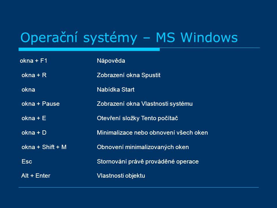 Operační systémy – MS Windows okna + F1 Nápověda okna + R Zobrazení okna Spustit okna Nabídka Start okna + Pause Zobrazení okna Vlastnosti systému okna + E Otevření složky Tento počítač okna + D Minimalizace nebo obnovení všech oken okna + Shift + M Obnovení minimalizovaných oken Esc Stornování právě prováděné operace Alt + Enter Vlastnosti objektu