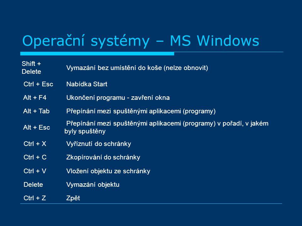 Operační systémy – MS Windows Shift + Delete Vymazání bez umístění do koše (nelze obnovit) Ctrl + Esc Nabídka Start Alt + F4 Ukončení programu - zavření okna Alt + Tab Přepínání mezi spuštěnými aplikacemi (programy) Alt + Esc Přepínání mezi spuštěnými aplikacemi (programy) v pořadí, v jakém byly spuštěny Ctrl + X Vyříznutí do schránky Ctrl + C Zkopírování do schránky Ctrl + V Vložení objektu ze schránky Delete Vymazání objektu Ctrl + Z Zpět