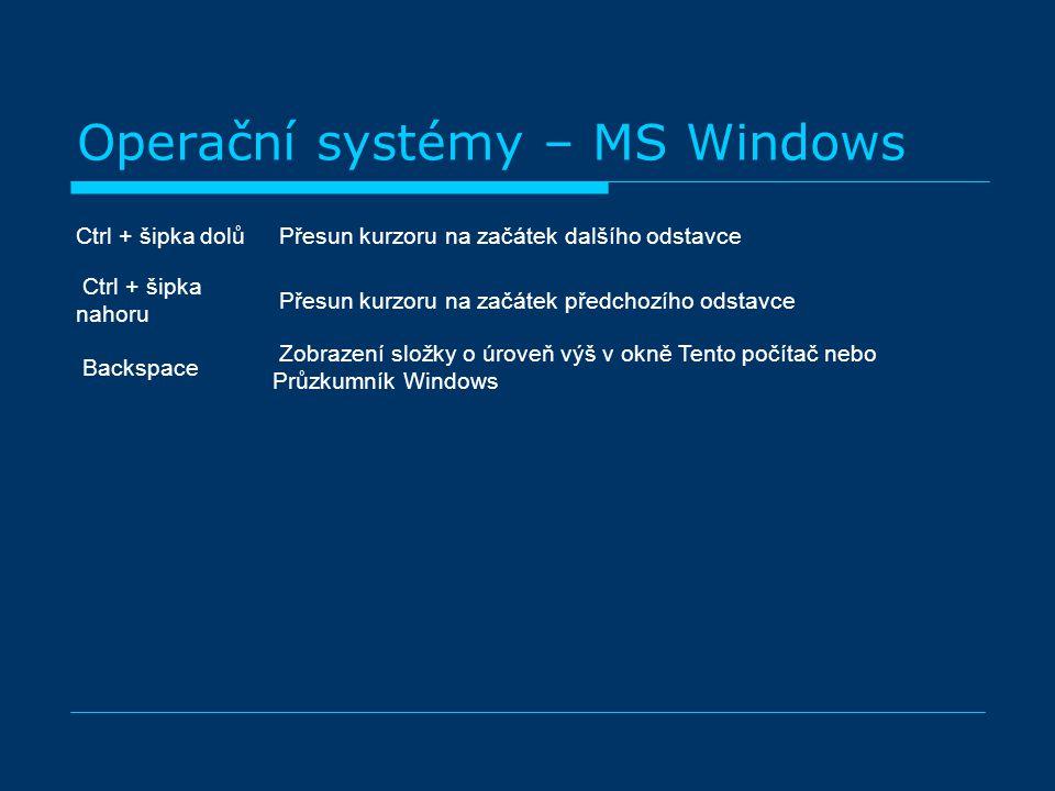 Operační systémy – MS Windows Ctrl + šipka dolů Přesun kurzoru na začátek dalšího odstavce Ctrl + šipka nahoru Přesun kurzoru na začátek předchozího odstavce Backspace Zobrazení složky o úroveň výš v okně Tento počítač nebo Průzkumník Windows