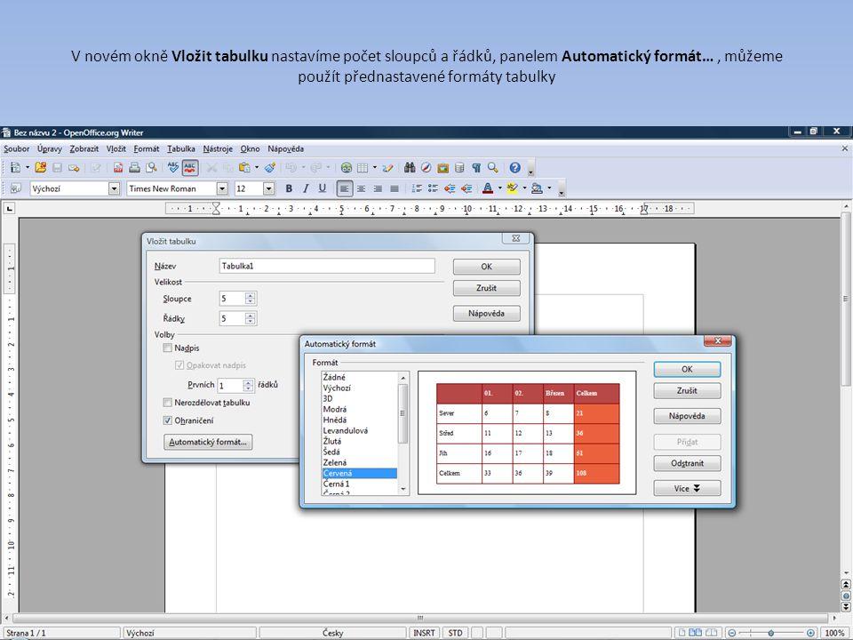 V novém okně Vložit tabulku nastavíme počet sloupců a řádků, panelem Automatický formát…, můžeme použít přednastavené formáty tabulky